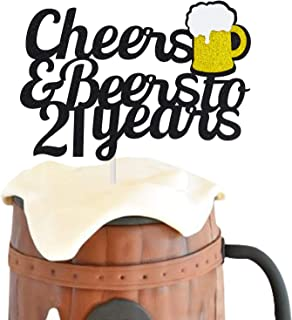 21 Birthday Cake Topper,Cheers & Beers to 21 Years Cake Topper,21th Birthday Wedding Anniversary Party Supplies