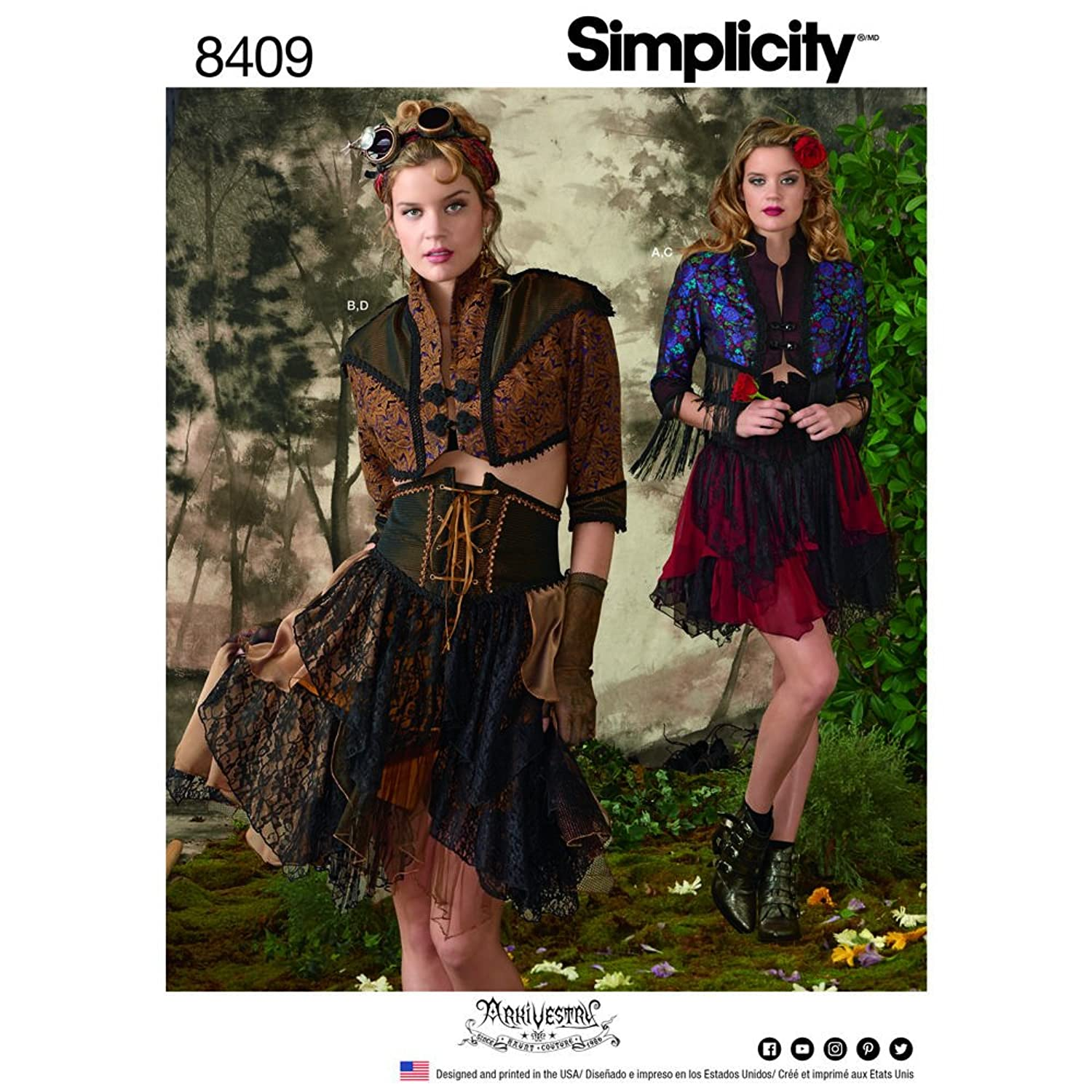 Simplicity Sewing Pattern D0789 / 8409 - Misses' Steampunk Bolero and Corset Skirt , R5(14-16-18-20-22)
