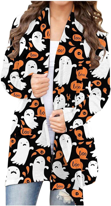 Womens Halloween Funny Cute Pumpkin Black Cat Ghost Graphic Long Sleeve Open Front Cardigan Lightweight Coat Blouse Tops