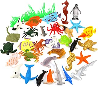 Auihiay 36 Pieces Ocean Sea Animals Assorted Mini Vinyl Plastic Animal Toy Set Realistic Under The Sea Life Figure Bath To...