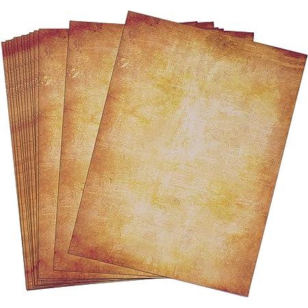 Lot de 100 Feuilles Papier Parchemin Papier à Lettre Format DIN A4 pour faire Invitation d'anniversaire pour la Calligraphie Imprimé Recto Verso (B)