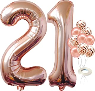 Rose Gold 21 Balloon Number - Giant 40 Inch | Confetti 21st Birthday Balloons for Her | Rose Gold 21 Balloons for 21st Bir...