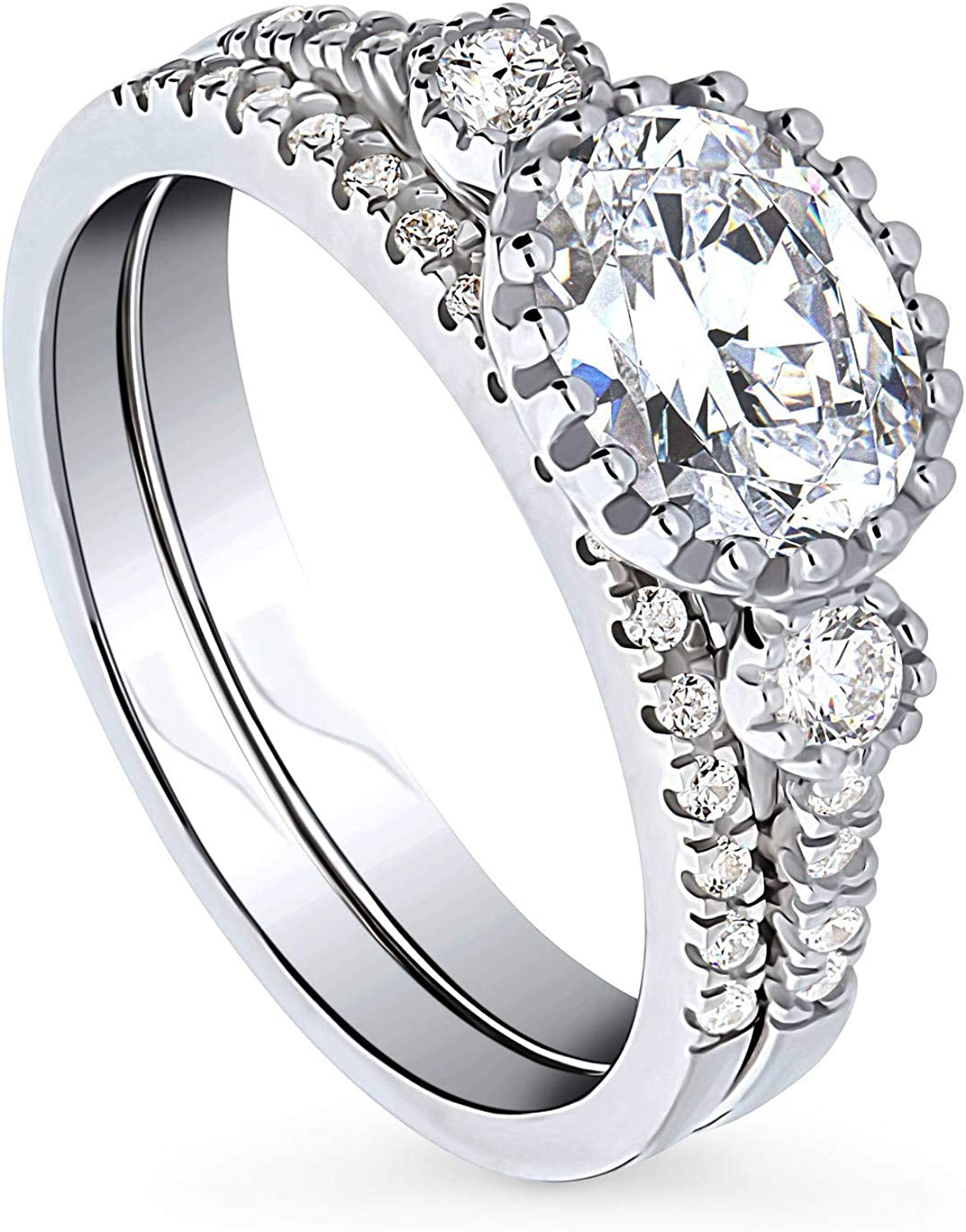 BERRICLE Rhodium Plated Austin Mall Sterling Silver Zirconia Cubic Oval OFFicial Cut