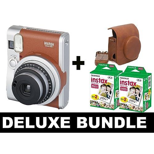 Fujifilm Instax Mini 90 NEO - Brown + 40 Shots + Vintage Brown Case