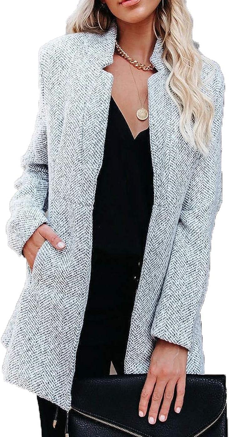 Womens Winter Elegant Pea Coat Long Sleeves Slim Midi Trenchcoat Outerwear