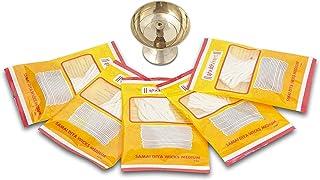 Shubhkart Combo Set (Pure Brass Diya/Pyali/Lamp, 100% Pure Cotton 5 Samai Diya Wicks) Handcrafted Set for Lighting lamp