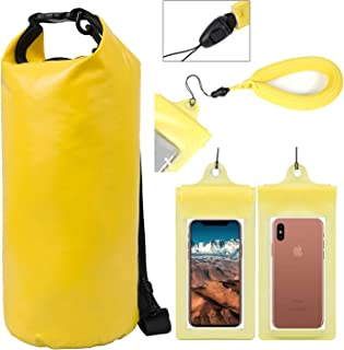 YazyCraft Waterproof Backpack [Dry Pack/Bag] - 10 Liters (1) + Smart Phone Protector Pouch (1) + Wrist Floaty - Yellow- Great for All Outdoor and Water Related Activities
