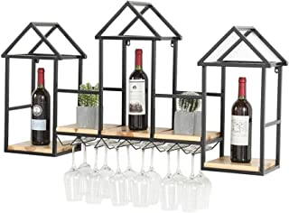 XHCP Organisation de Rangement de Cuisine Casier à vin en Bois Massif créatif |Casier à vin Mural |Présentoir Mural de C...