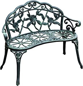 "Outsunny 40"" Cast Aluminum Antique Rose Style Outdoor Patio Garden Park Bench - Antique Green"
