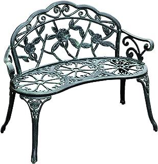 """Outsunny Cast Iron Antique Rose Style Outdoor Patio Garden Park Bench, 40"""""""