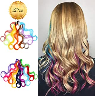 Alileader 12 Pcs Curly Multi-Colors Party Highlights Clip on in Hair Extensions Colored Hair Streak. Heat-Resistant Synthetic Multiple Colors Hairpieces for Kids (19Inch)