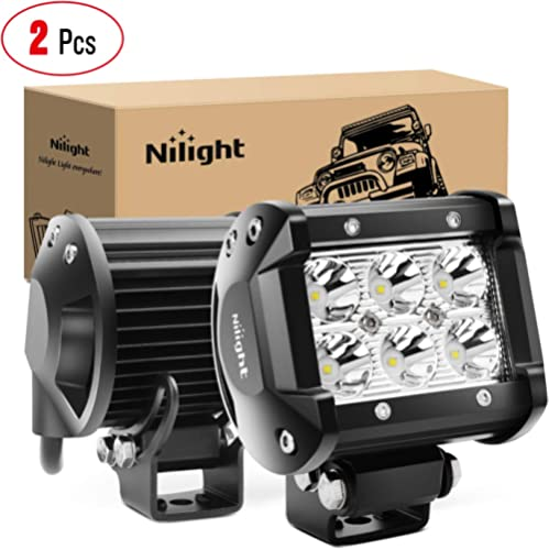 """Nilight 2PCS 18W 1260lm Spot Driving Fog Light Off Road Led Lights Bar Mounting Bracket for SUV Boat 4"""" Jeep Lamp,2 y..."""
