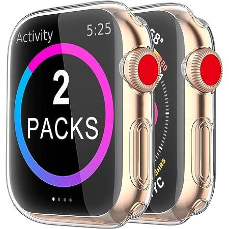 2 Pack Funda Apple Watch 40mm Series 6/5/4/SE, Protector Pantalla iWatch Case Protección Completo Anti-Rasguños Ultra Transparente Funda Suave TPU