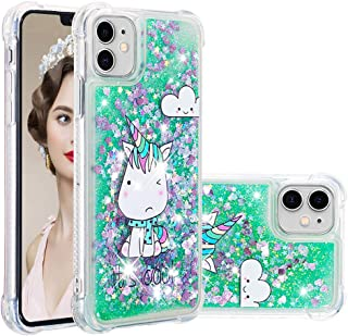 iPhone 11 Case,AUSURE Glitter Quicksand Liquid Floating Sparkle Bling Clear Protective Luxury Design Cute with Pattern Phone Case Cover for iPhone 11 2019 6.1 inch (Little Monster)