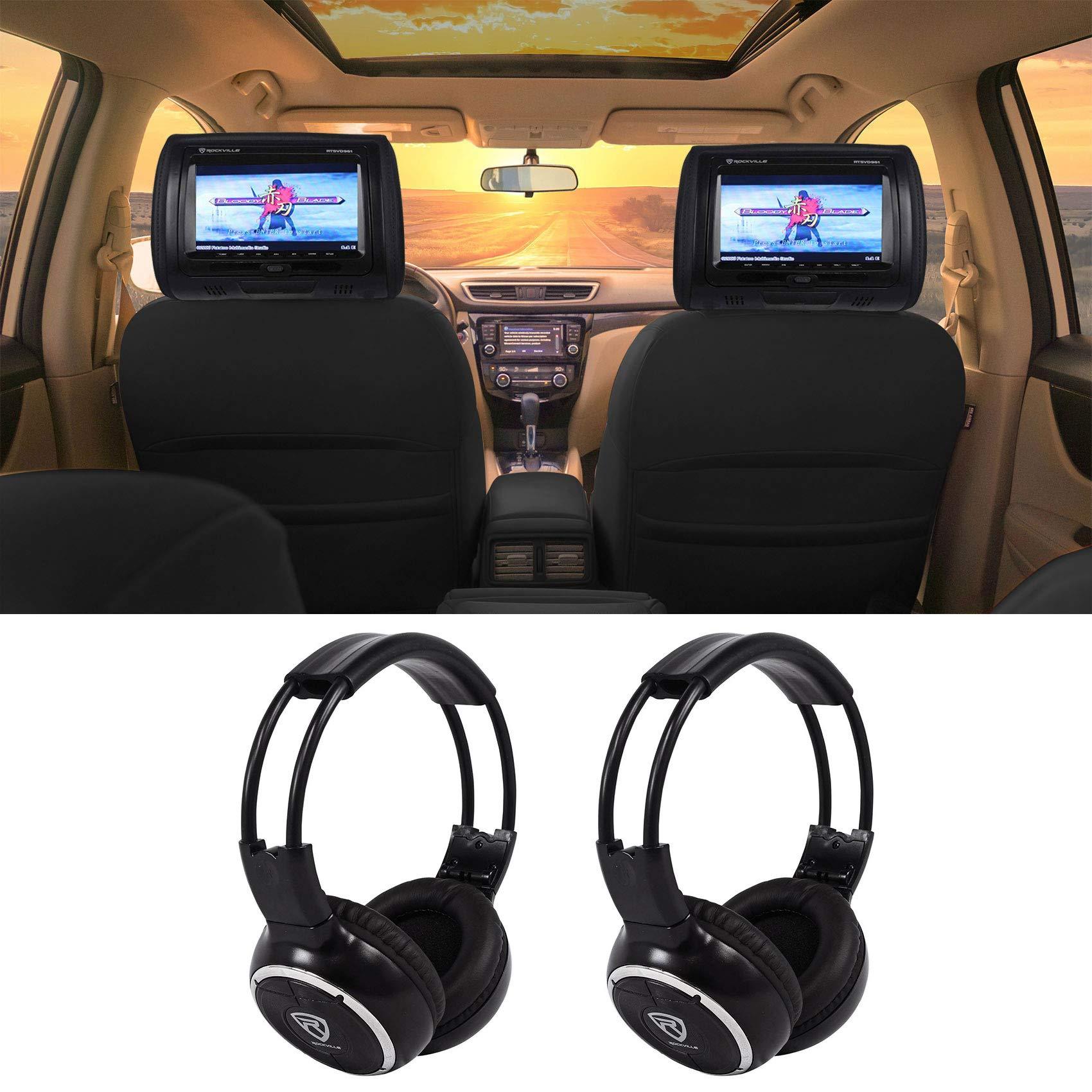 Rockville RTSVD961 BK Touchscreen Headrest Headphones