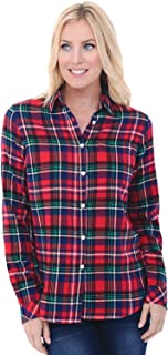 Womens Flannel Shirt, Button-Down Cotton Boyfriend Top
