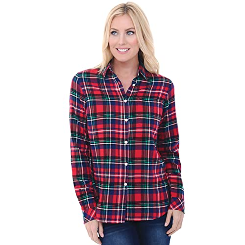 ef2b586276d3 Alexander Del Rossa Womens Flannel Shirt, Button-Down Cotton Boyfriend Top