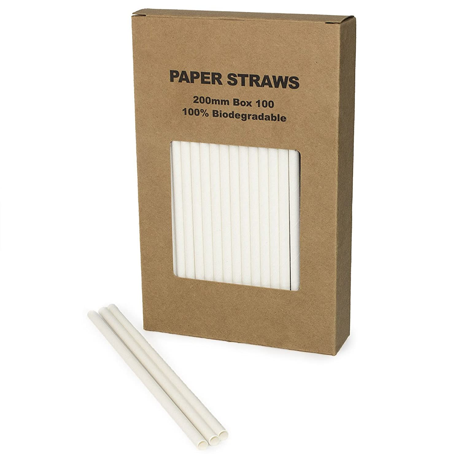 Plain White Paper Straws Bulk, Pure Solid All White Paper Drinking Straws for Wedding 1st Birthday Party Holiday Baby Bridal Shower, Mason Jar Straw, Cake Pop Sticks (White, 100)