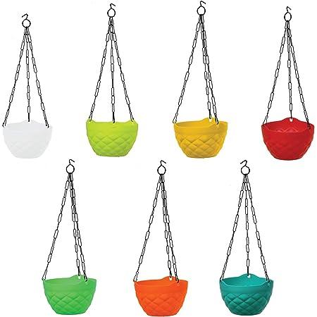 TrustBasket Diamond Hanging Basket Mixed Colours (Set of 5)-Multicolour Hanging Basket,Hanging Flower Basket/Balcony Indoor,Outdoor Hanging
