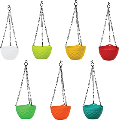 TrustBasket Diamond Hanging Basket Mixed Colours (Set of 5)-Multicolour Hanging Basket,Hanging Flower Basket/Balcony Indoor,Outdoor Hanging
