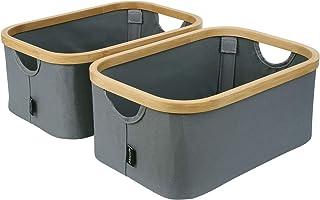 Homfa Lot de 2 Boîtes de Rangement Pliable en Bambou+Polyester Bacs Caisses de Rangement Portable avec Poignées 38 x 26 x ...