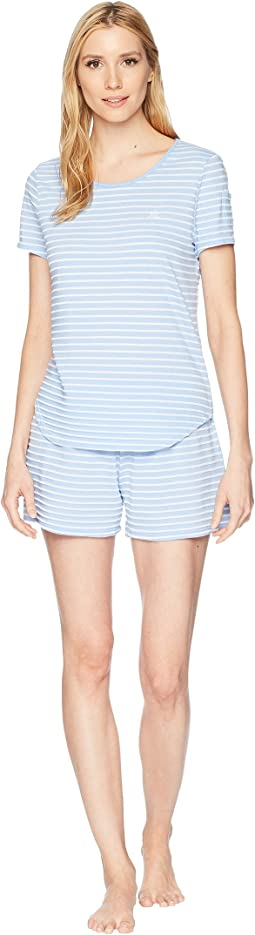 Striped Knit Short Sleeve Boxer Set
