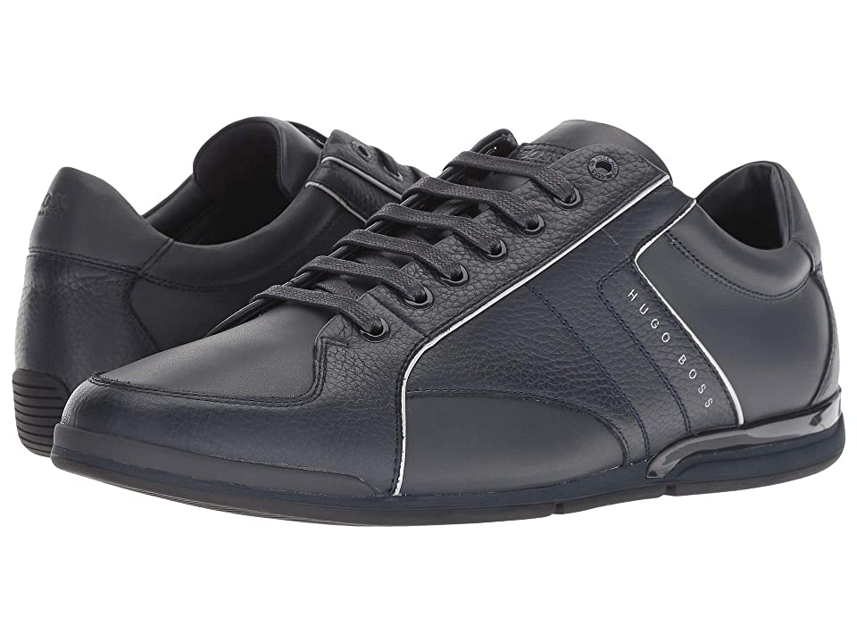 BOSS Hugo Boss Saturn Leather Sneaker by BOSS Green (Dark Blue) Men