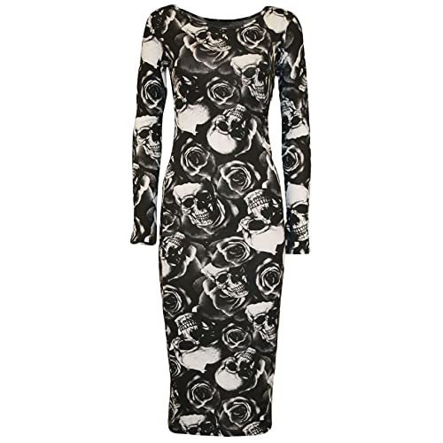 Womens Cap Sleeve Stripe Skull Animal Print Stretch Bodycon Midi Maxi Dress 8-22