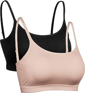 Satinior Mini Camisole Crop Top Wirefree Bra Padded Strap Cami Bra (2 Pack (Black, Skin Color), XL Size)