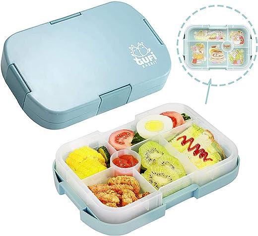 Bento Box Kinder Brotdose, Lunchbox mit 6 Unterteilten Fächern Robust und Auslaufsicher Brotzeitbox 1000ML Jausenbox Mikrowellen und Spülmaschinen,…