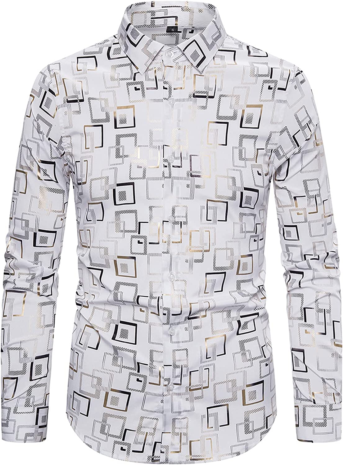 Mens Slim Fit Shirts Luxury Print Shirt Long Sleeve Slim Fit Button Down Dress Shirts for Party/Wedding/Shows