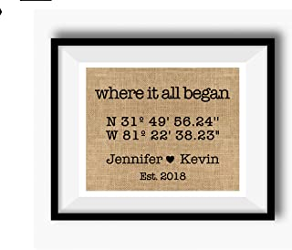 Where It All Began | Latitude Longitude GPS Coordinates | 100 percent Burlap or Canvas Anniversary Gift | Where We Met | Wedding Location