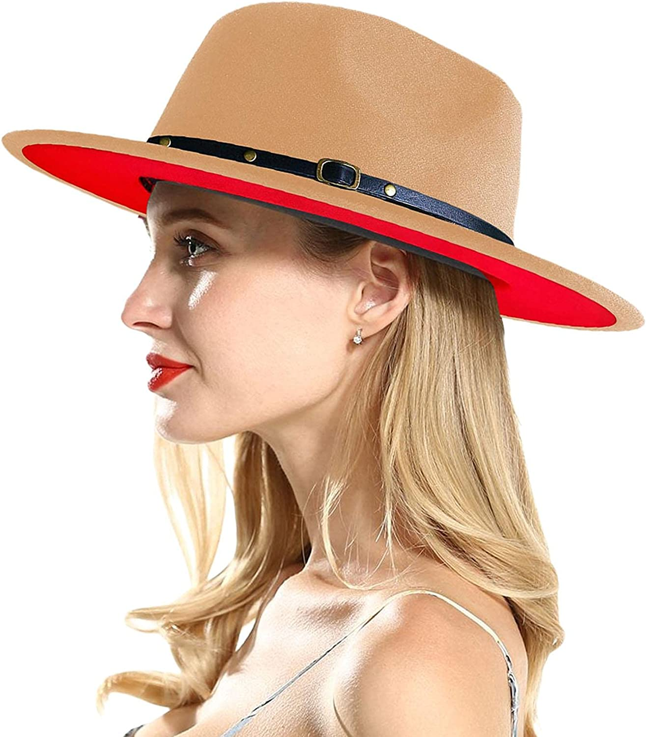 Nc Fashion Classic Wide Brim Hats Adjustable Fedora Strap Caps for Women&Men for Gardening Hiking Camping