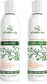 Wild Naturals Sulfate Free Shampoo : Conditioner Set, With Manuka Honey + Aloe Vera, For Hair Loss, Thinning Hair and Itchy Dry Scalp. Anti Dandruff, Moisturizing, 98% Natural, 80% Organic Plant-Based