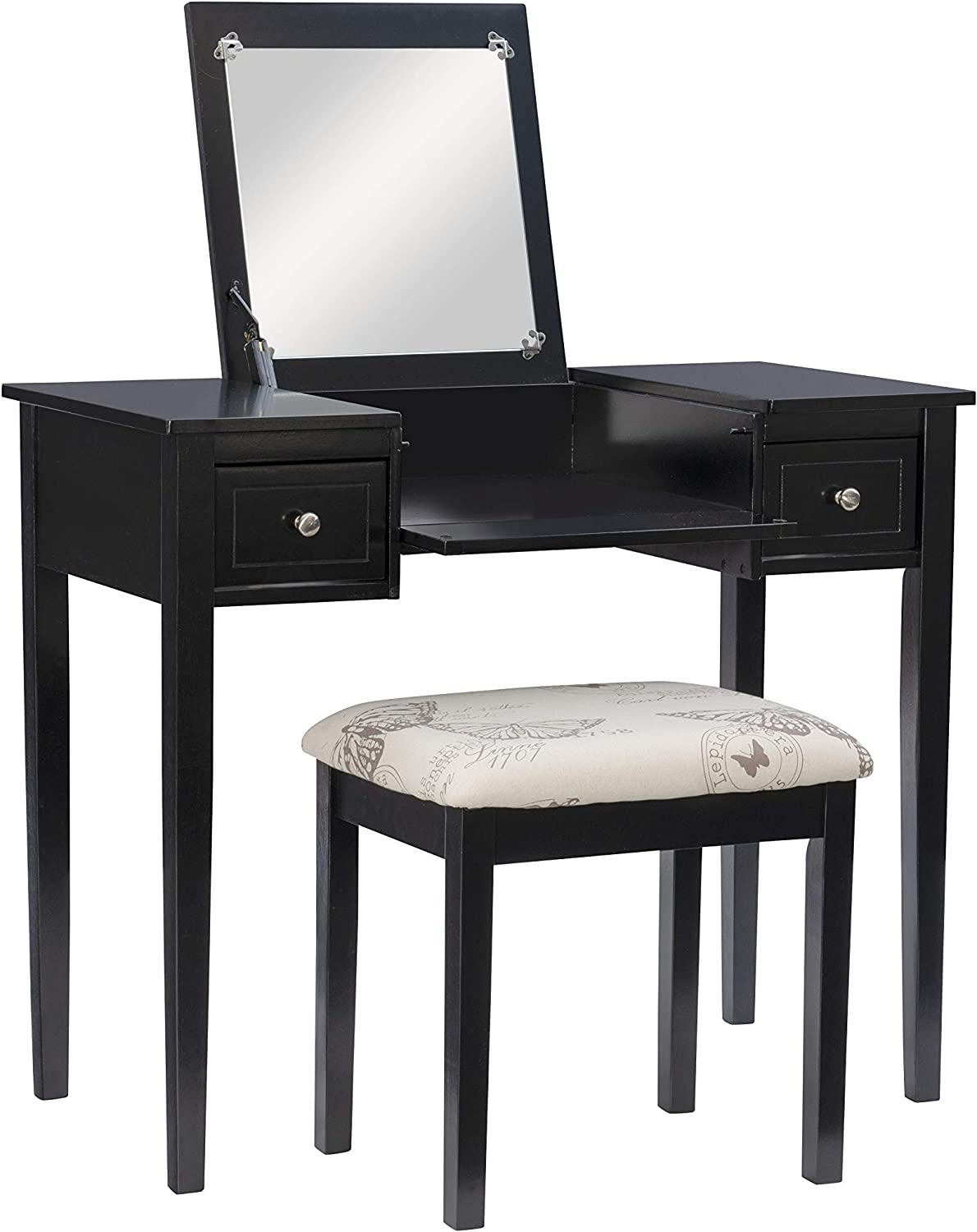 Linon Daily bargain sale Home Milwaukee Mall Dcor Black Butterfly Stool Benc Set with Vanity