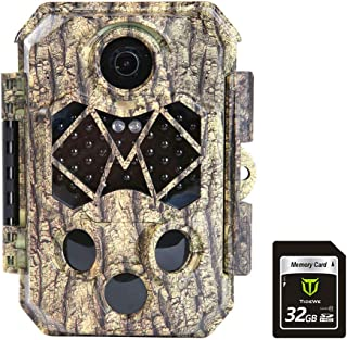 TIDEWE Trail Camera with 32GB SD Card, 32MP 4K Hunting Camera with 0.2s Trigger 3 PIR, 120° Range Night Vision 45 LEDs Wat...