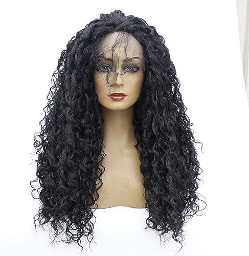 WUX Longue perruque bouclée ondulée , avant de lacet perruques cheveux synthétiques pour les femmes Cosplay Costume HalFaibleeen Party noir 14-26 pouces (Taille   26 in)