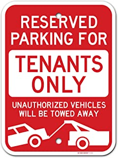 """Reserved Parking Towing enforced Tenant Parking Only Sign, Made Out of .040 Rust-Free Aluminum, 12"""" x 16"""", Indoor/Outdoor ..."""