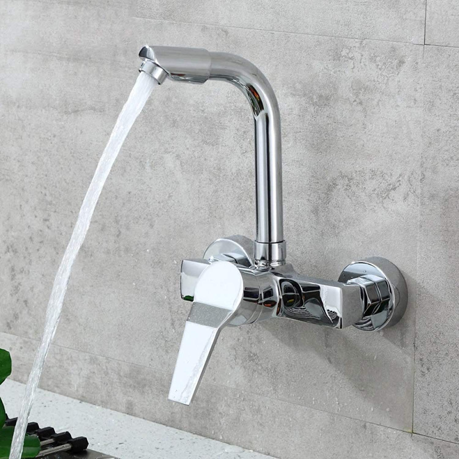 PZXY Faucet All Copper Kitchen into The Wall Type hot and Cold Faucet wash Vegetable Basin Sink Balcony Laundry Pool Faucet