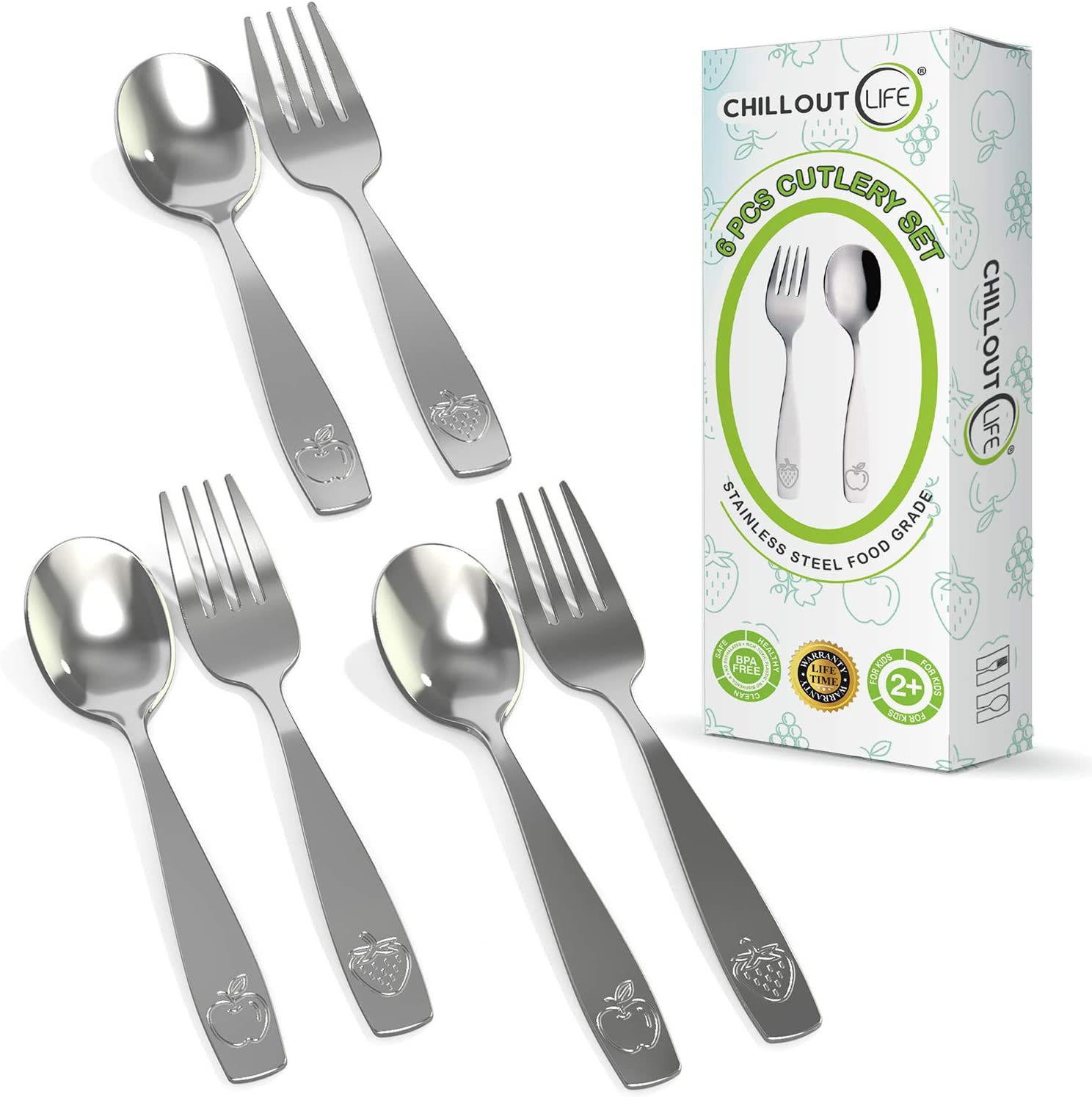 Portland Mall Stainless Steel Kids Silverware Set - Child and Safe In a popularity Toddler Fla