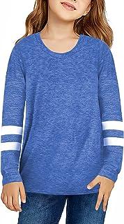 Asvivid Girls Color Block T-Shirt Summer Crew Neck Long Sleeve Blouse Loose Casual Tee T Shirt 4-13 Years