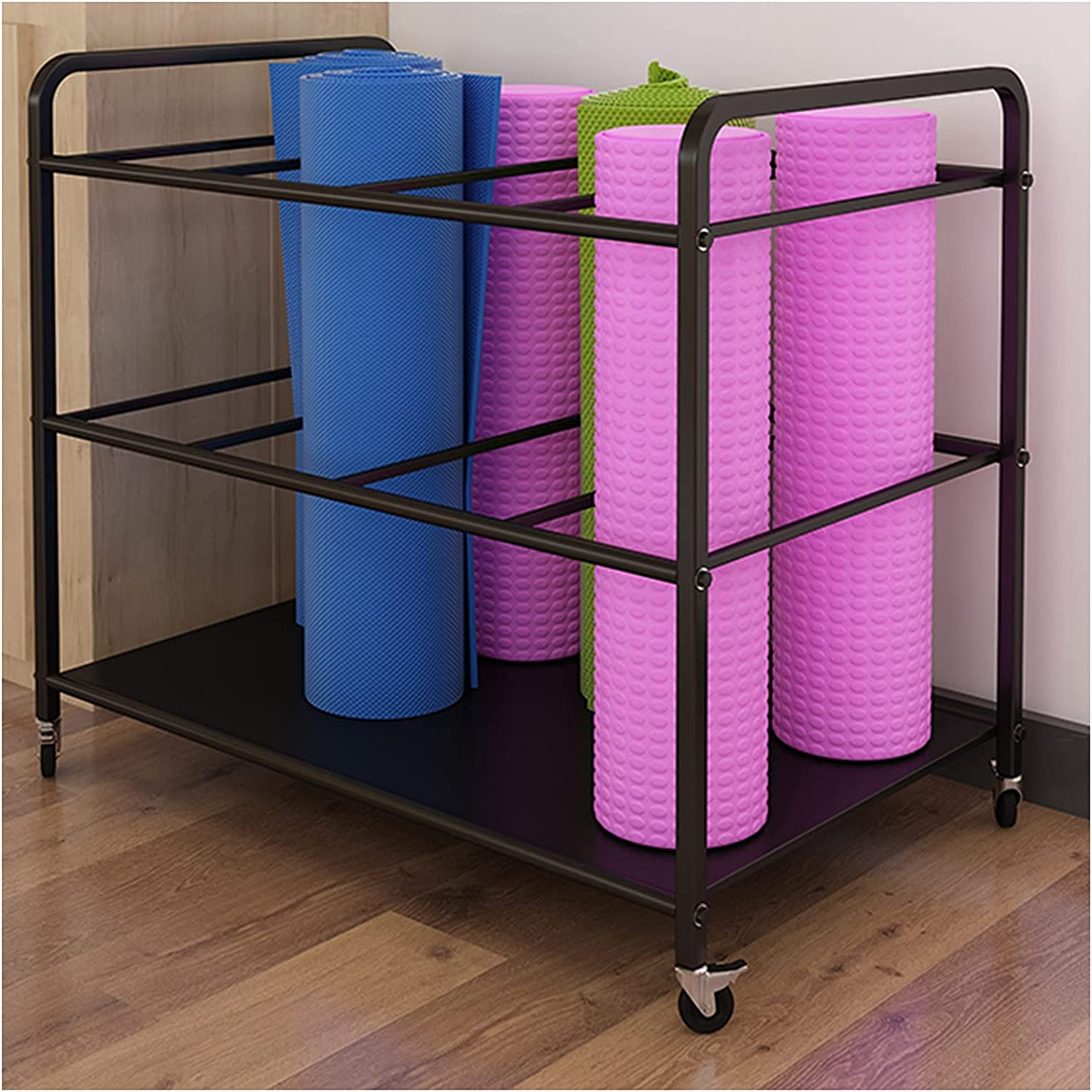 Max 77% OFF Extra Large Rolling Yoga Mat Storage Wheels Safety and trust Lockable with 2 Cart