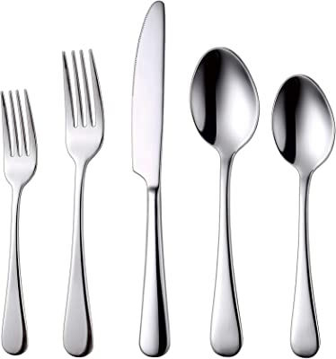 Silverware 18/10 Flatware Set 20 pieces Stainless Steel Utensil Kitchen Spoons and Forks Sets, Mirror Polished Dishwasher Safe