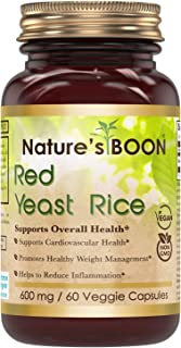 Nature's Boon Premium Quality Red Yeast Rice 600 mg 60 Veggie Capsules(Glass Bottle) -Supports Healthy Cholesterol Level -...