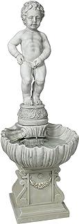 تصميم توسكانو NG33505 كامل Manneken Pis تبول صبي ماء نافورة حديقة ديكور مع قاعدة مياه خارجية ، 45 بوصة ، بوليريسين ، حجر عتيق