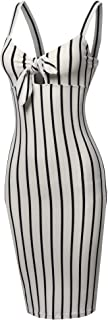 Made by Emma Women's Stretch Sweet Heart Neckline with Self-Tie Stripe Sexy Dress