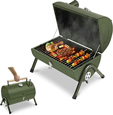 ACWARM HOME Portable Charcoal Grill, Small BBQ Smoker Grill, Tabletop Barbecue Charcoal Grill for Outdoor Camping Garden Back