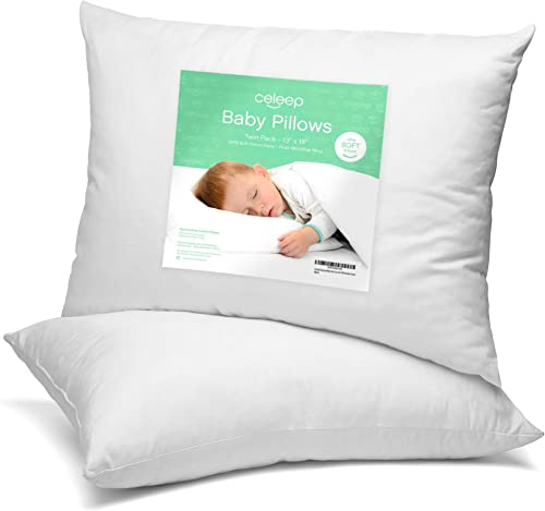 discount Toddler Pillow by discount Celeep - [2- Pack] 13x18 Inches Soft Organic Toddler Bedding Baby Pillows for Sleeping - Small Pillow with 100% new arrival Natural Cotton Cover outlet online sale