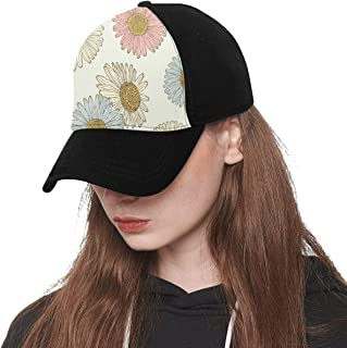 Front Panel Custom Chrysanthemum Noble and Elegant Flowers Printing Baseball Hat Adjustable Size Curved Cap for Hip-hop Sports Summer Beach Outdoor Activities Unisex