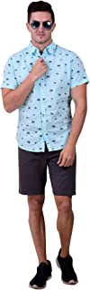 Gentlemen's Outfitters Short Sleeve Tree Printed Cotton Shirt - Mint Color